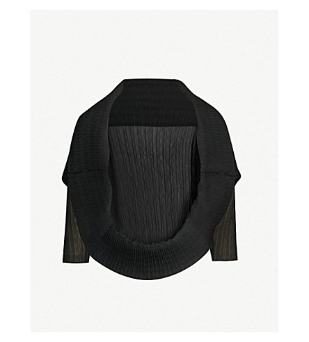 MAX MARA Vesuvio pleated crepe cape (Black