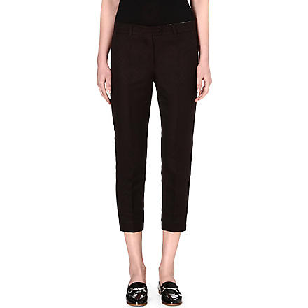 S MAX MARA Vino cropped jacquard trousers (Brown