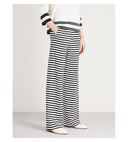 MAX MARA Vito striped wide-leg jersey trousers (Navy