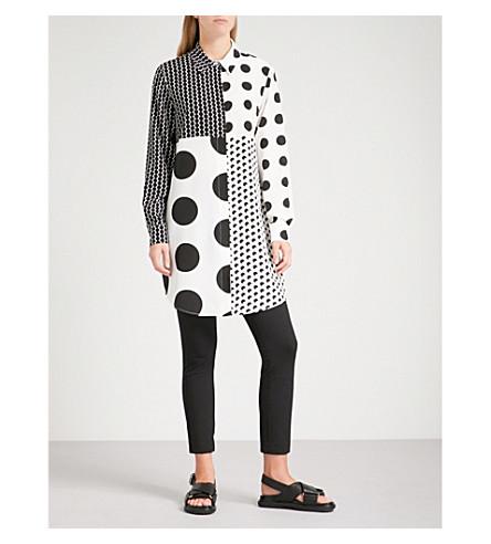 SPORTMAX Volare silk tunic shirt (Black+and+white