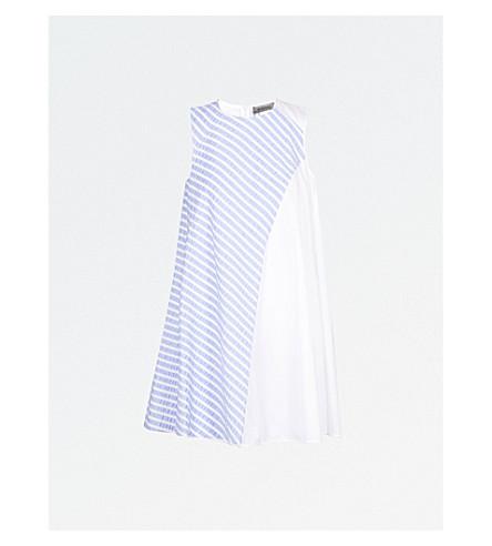 SPORTMAX Volto striped-panel cotton dress (Light+blue