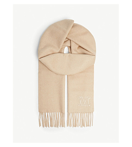 MAX MARA 徽标骆驼毛围巾 (白化