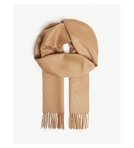 MAX MARA Logo camel hair scarf (Camel