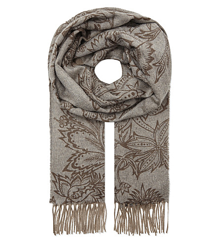 MAX MARA Cashmere floral print stole (Dark+taupe