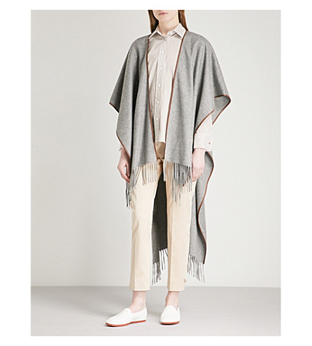 MAX MARA Maya fringed cashmere cape (Light+grey