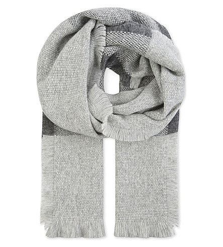 MAX MARA Alpaca-wool blend checked scarf (Medium+grey