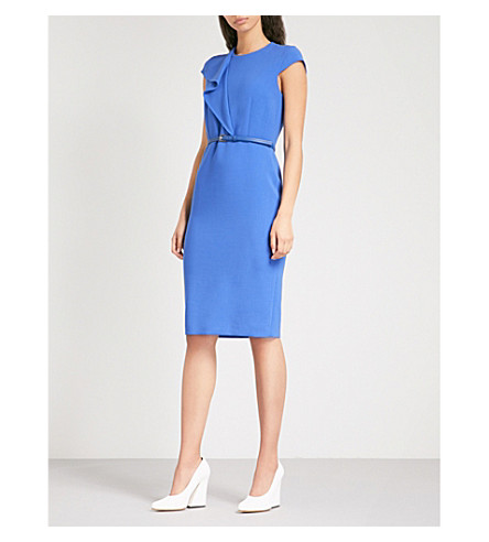 MAX MARA Zarina flared-panel stretch-wool dress (Cornflower+blue