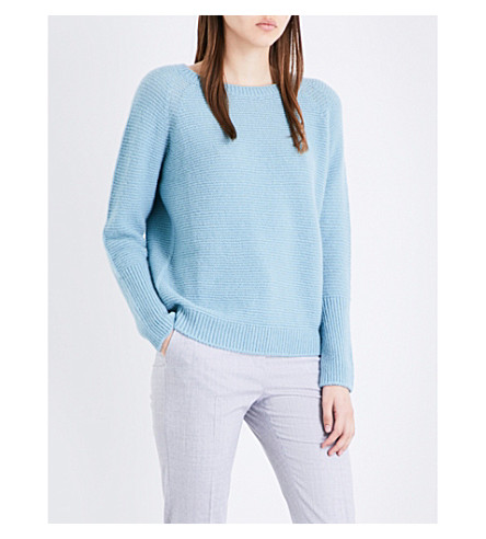 MAX MARA Zeno cashmere and silk-blend jumper (Light+blue