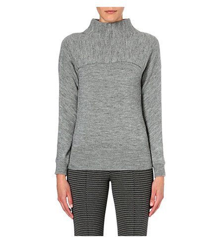 MAX MARA STUDIO Funnel-neck knitted jumper (Grey