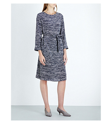 S MAX MARA Zina silk dress (Navy+micro