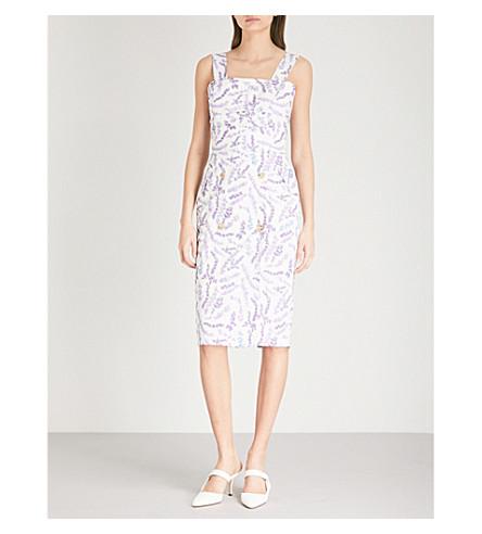 MAX MARA Lavender-print cotton midi dress (Lavender+print