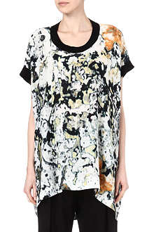ANGLOMANIA Silk-blend tie-dye tunic top