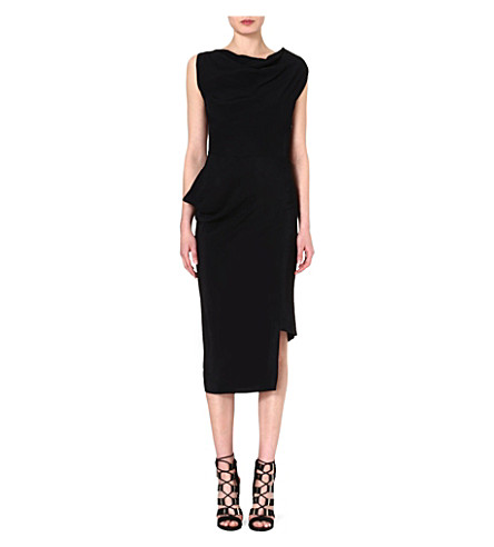 ANGLOMANIA Fitted crepe midi dress (Black