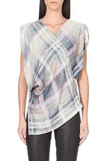 ANGLOMANIA Faded tartan print blouse
