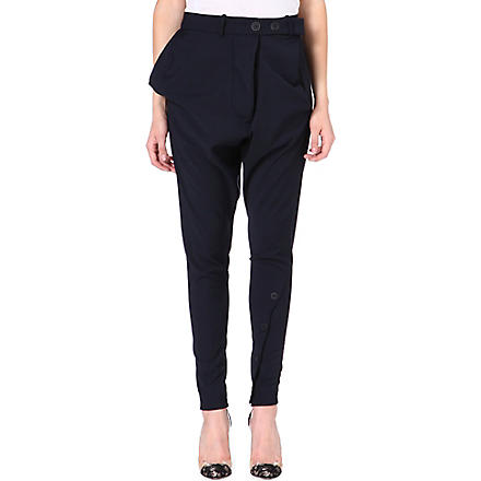 ANGLOMANIA Tapered crepe trousers (Navy