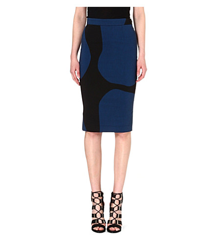 ANGLOMANIA Basic crepe pencil skirt (Petrol/black