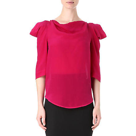 ANGLOMANIA Silk titan 3/4 sleeve top (Fuschia