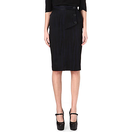 ANGLOMANIA Pyramid pencil skirt (Bluenv/blk