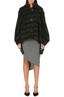 ANGLOMANIA Striped draped-effect coat