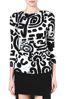ANGLOMANIA Printed stretch-jersey top