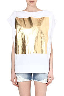 ANGLOMANIA Gold-foil oversized cotton top