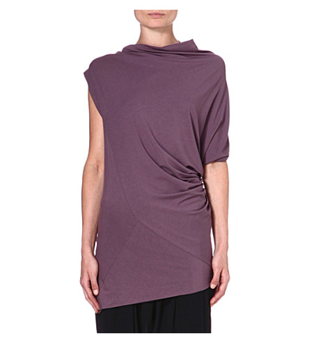ANGLOMANIA Draped stretch-jersey top (Mushroom