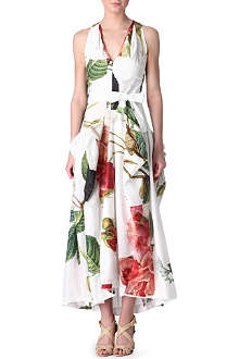 ANGLOMANIA Gladiator floral-print maxi dress