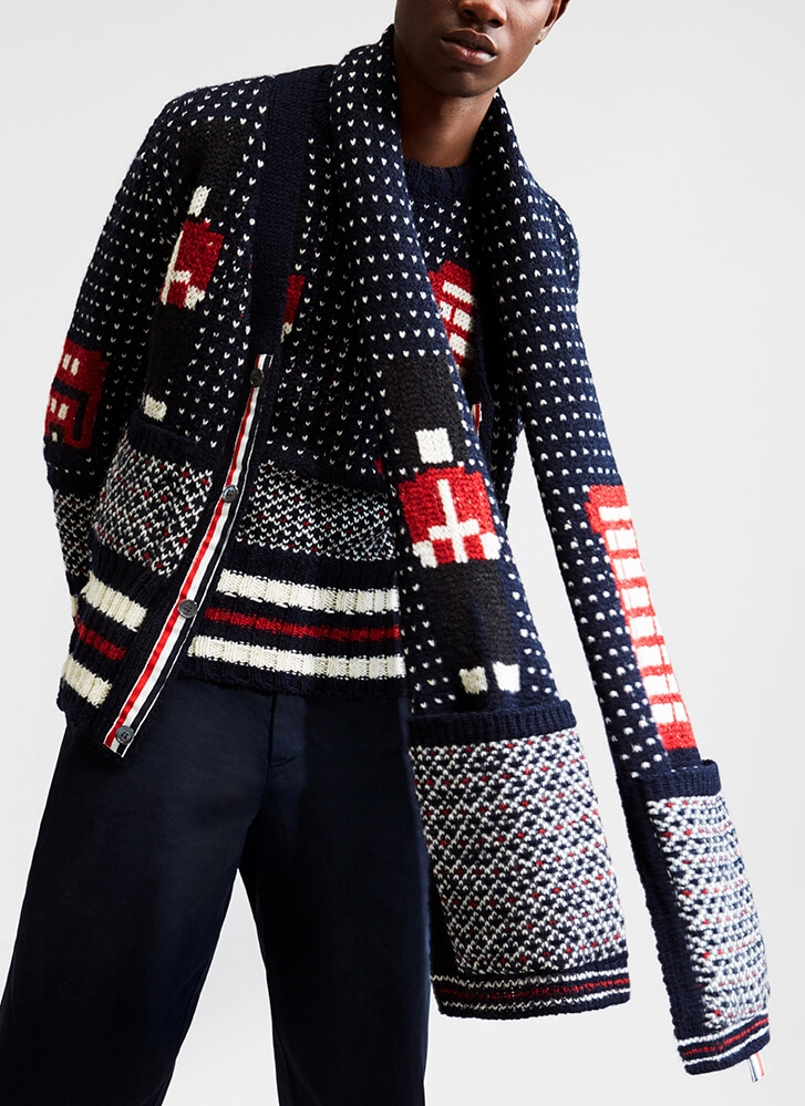 Exclusive Thom Browne jumper and scarf