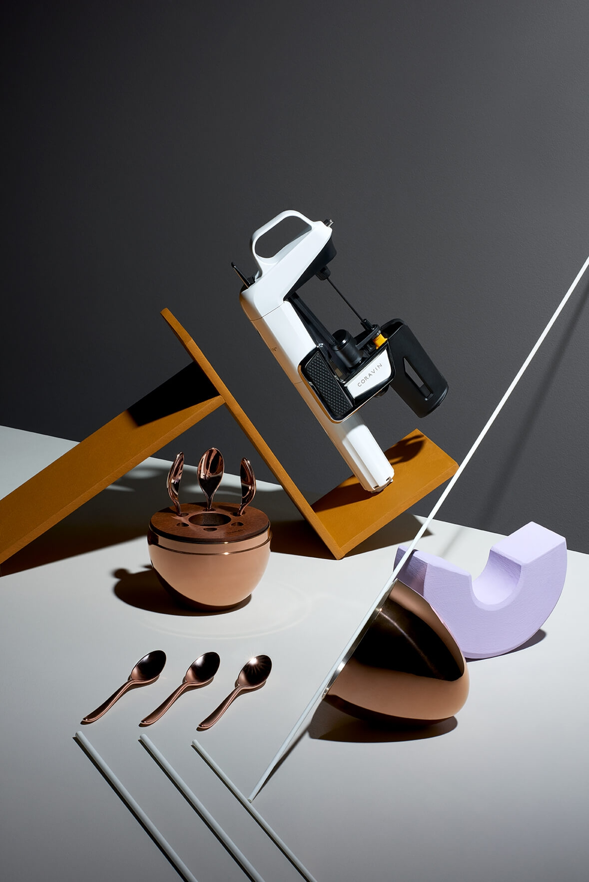 Coravin gloss white system, Christofle mood coffee precious in rose gold