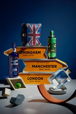 Veuve Clicquot personalisation arrow tin, Zymurgorium Syllabub Manchester gin, Langley Birmingham gin