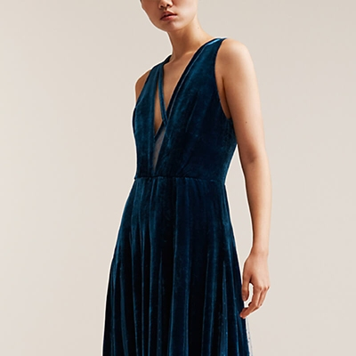 Elie Saab blue velvet dress