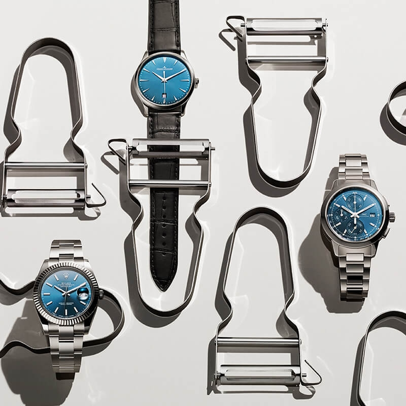 Blue-faced watches