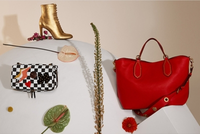f17e936b5d1f Jerome Dreyfuss - checkerboard cross-body bag   Jimmy Choo - gold boots    Michael Michael Kors - red shoulder bag