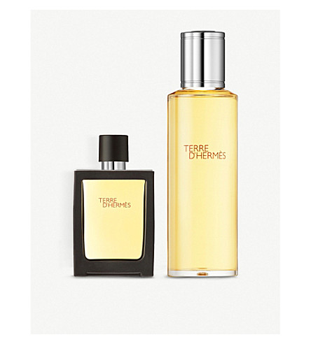 HERMES Terre d'hermès pure parfum refillable spray 30ml + refill 125ml