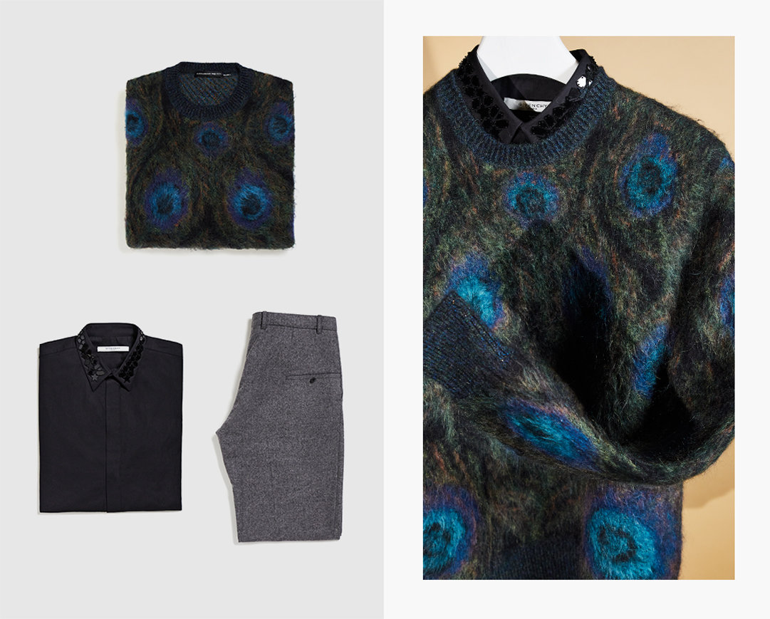 A men's patterned jumper, embellished shirt and grey trousers