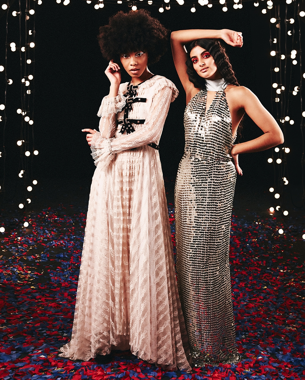 Two women wearing gowns from Philosophy and Temperley London