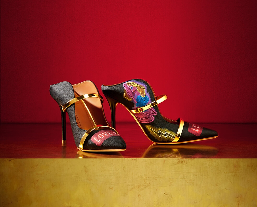 A pair of embellished Malone Souliers heels