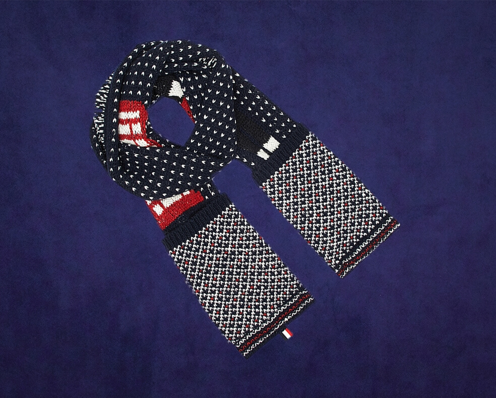 A Thom Browne patterned scarf