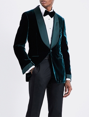 Man wearing velvet suit jacket