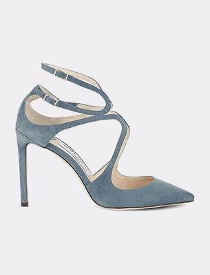 A blue suede heel