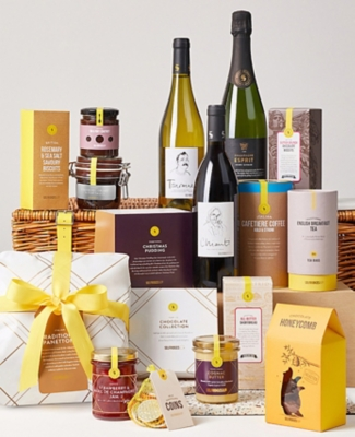 A collection of gift basket treats