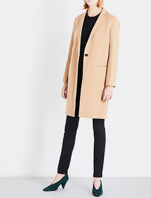 Woman wearing a camel coat