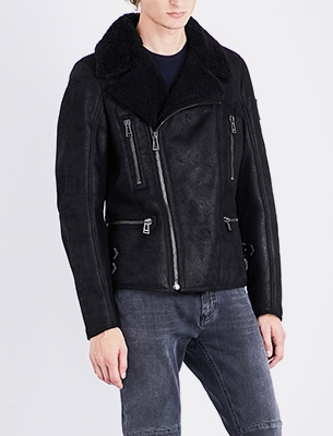 Man wearing a shearling jacket