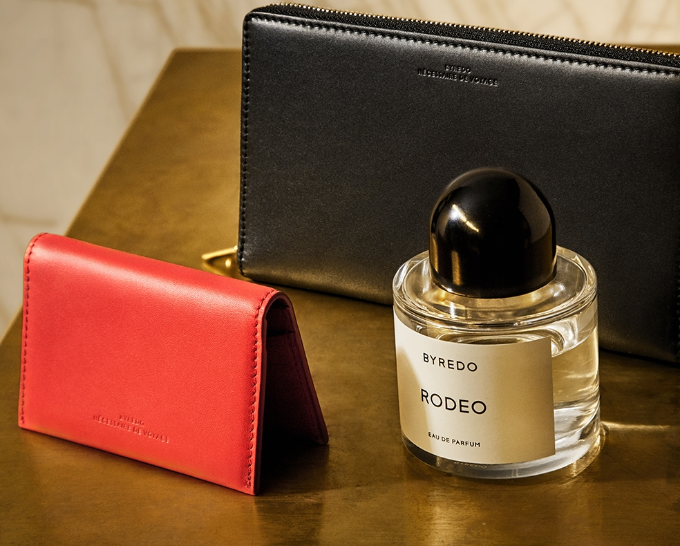 Byredo fragrance and leather accessories