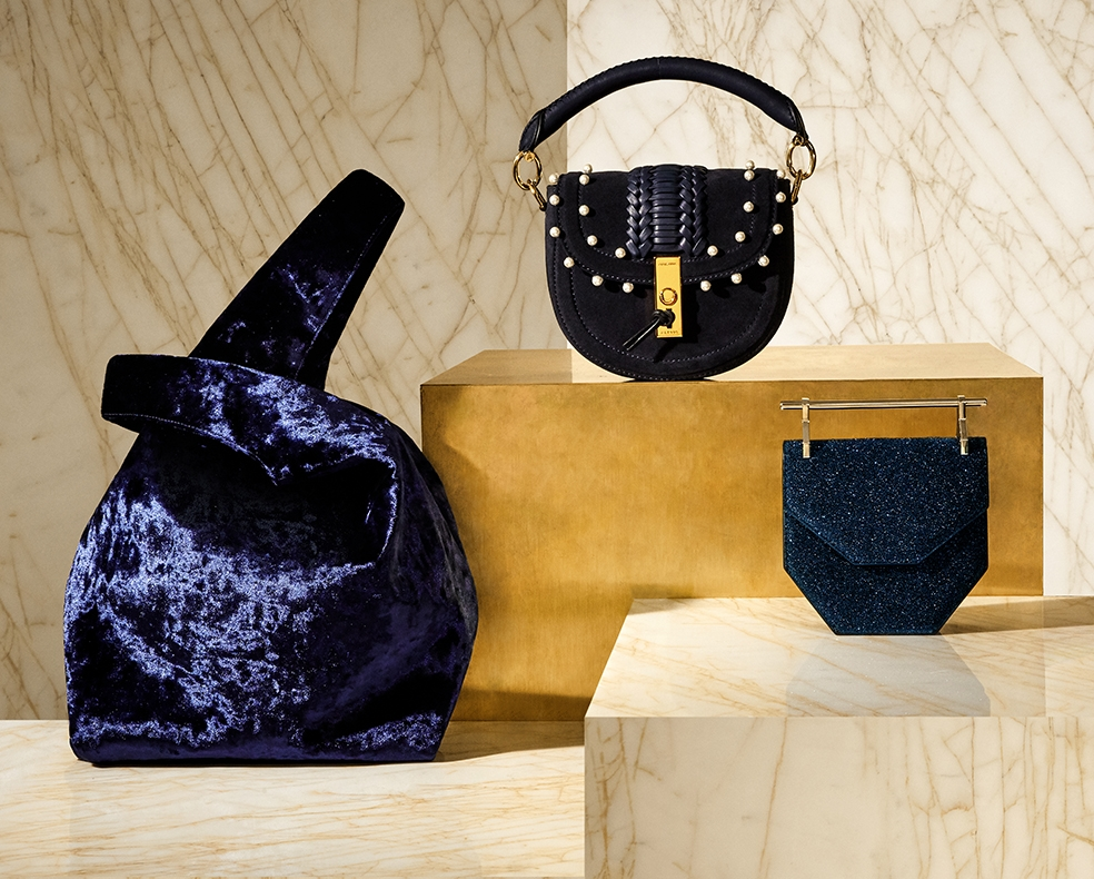 Navy blue bags by Hayward, M2Malletier and Altuzarra