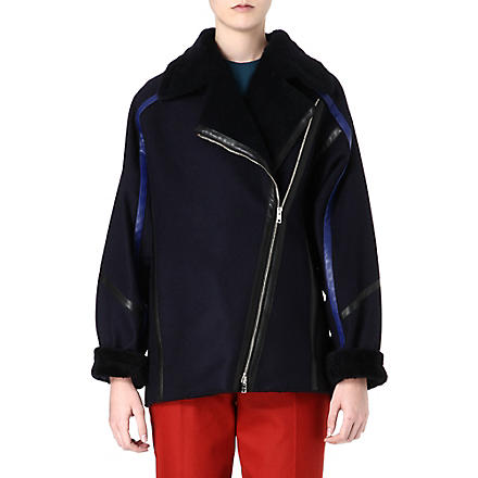 PAUL SMITH MAINLINE Shearling oversized coat (Navy