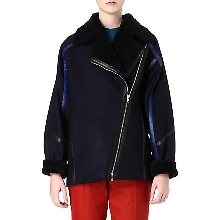 PAUL SMITH MAINLINE Shearling oversized coat (Navy