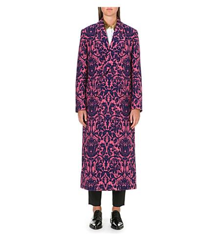 PAUL SMITH MAINLINE Long jacquard floral-print coat (Pink/blue