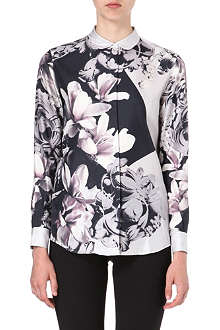 PAUL SMITH BLACK Magnolia-print silk shirt