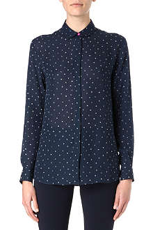 PAUL SMITH BLACK Letter-print silk shirt